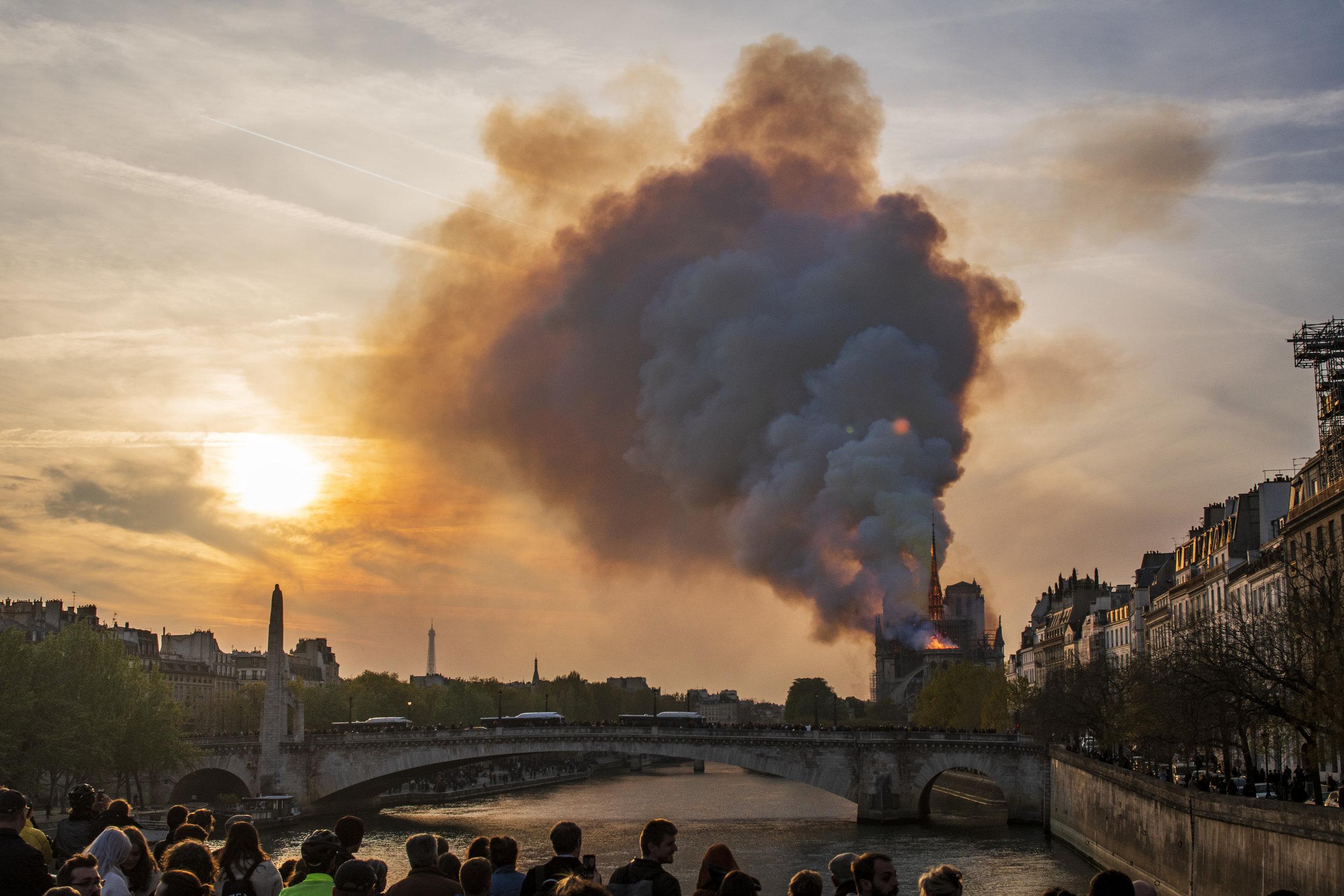 Notre Dame Fire 15/April/2019  PHOTOGRAPHY: ALEXANDER J.E. BRADLEY • NIKON D500 • AF-S NIKKOR 24-70MM Ƒ/2.8G ED @ 32MM • Ƒ/16 • 20 sec • ISO 50