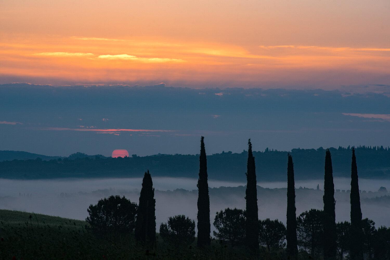 Sunrise at Podere Belvedere Valley  PHOTOGRAPHY: MIRKO FIN • Nikon D750 • NIKKOR 70-210 Ƒ/4-5.6 @ 170mm • Ƒ/11 • 1/40 sec • ISO 100