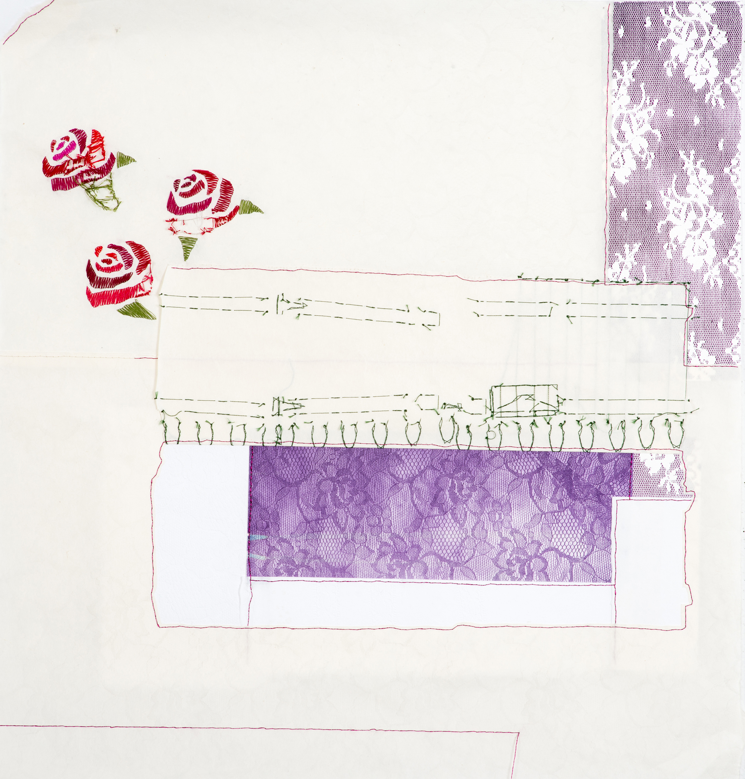 folding/revealing (fence)   2014 monotype with embroidery and handmade paper