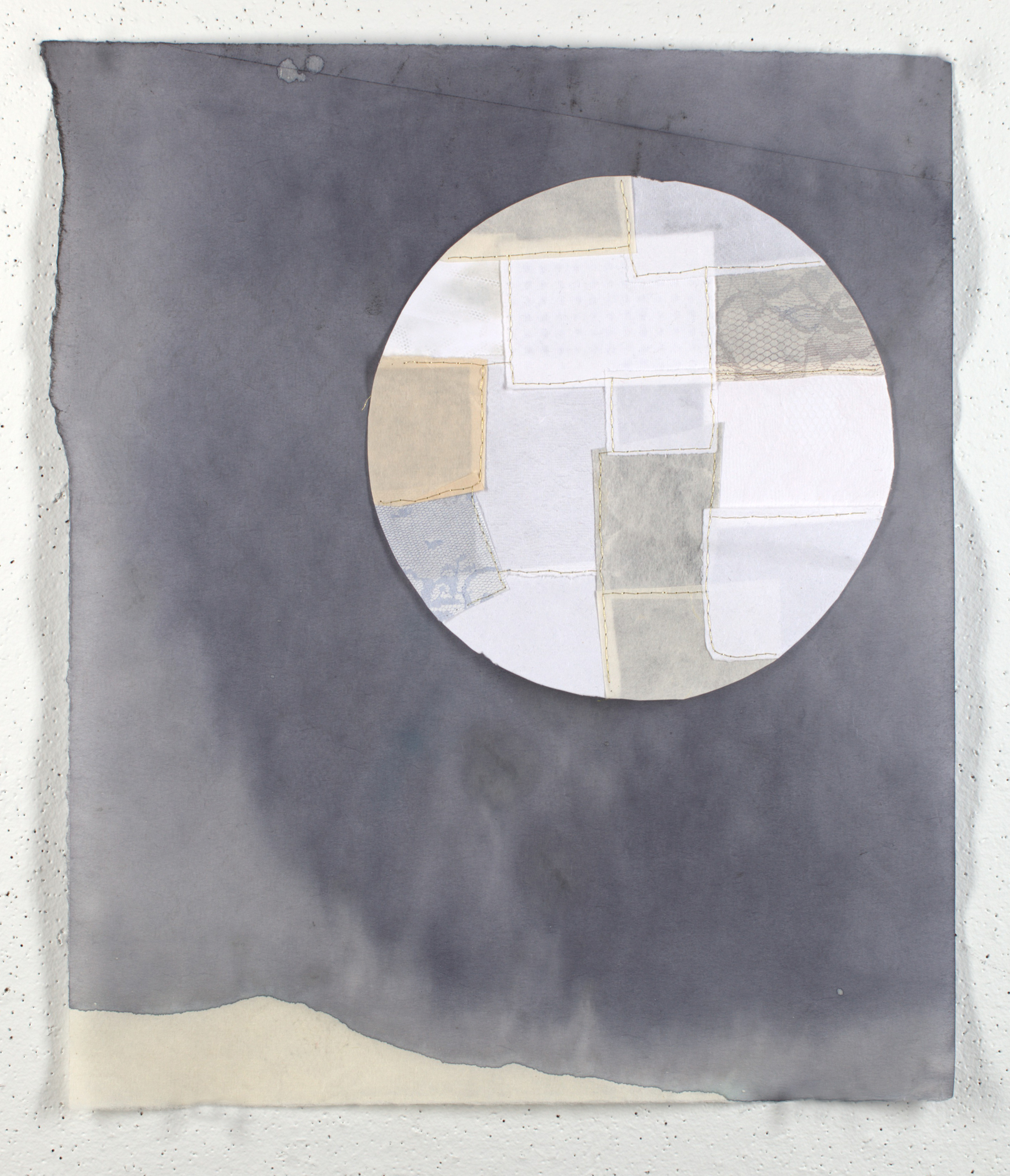fixing the moon   2014 ink wash, embroidery, monoprint, & handmade paper