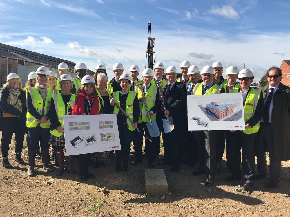 10/11/2017   A groundbreaking ceremony has been held for Balmoral Place, a new Extra Care development for  HB Villages  in Northampton. As part of their supported living framework, Calderpeel have been commissioned to deliver these much-needed facilities.