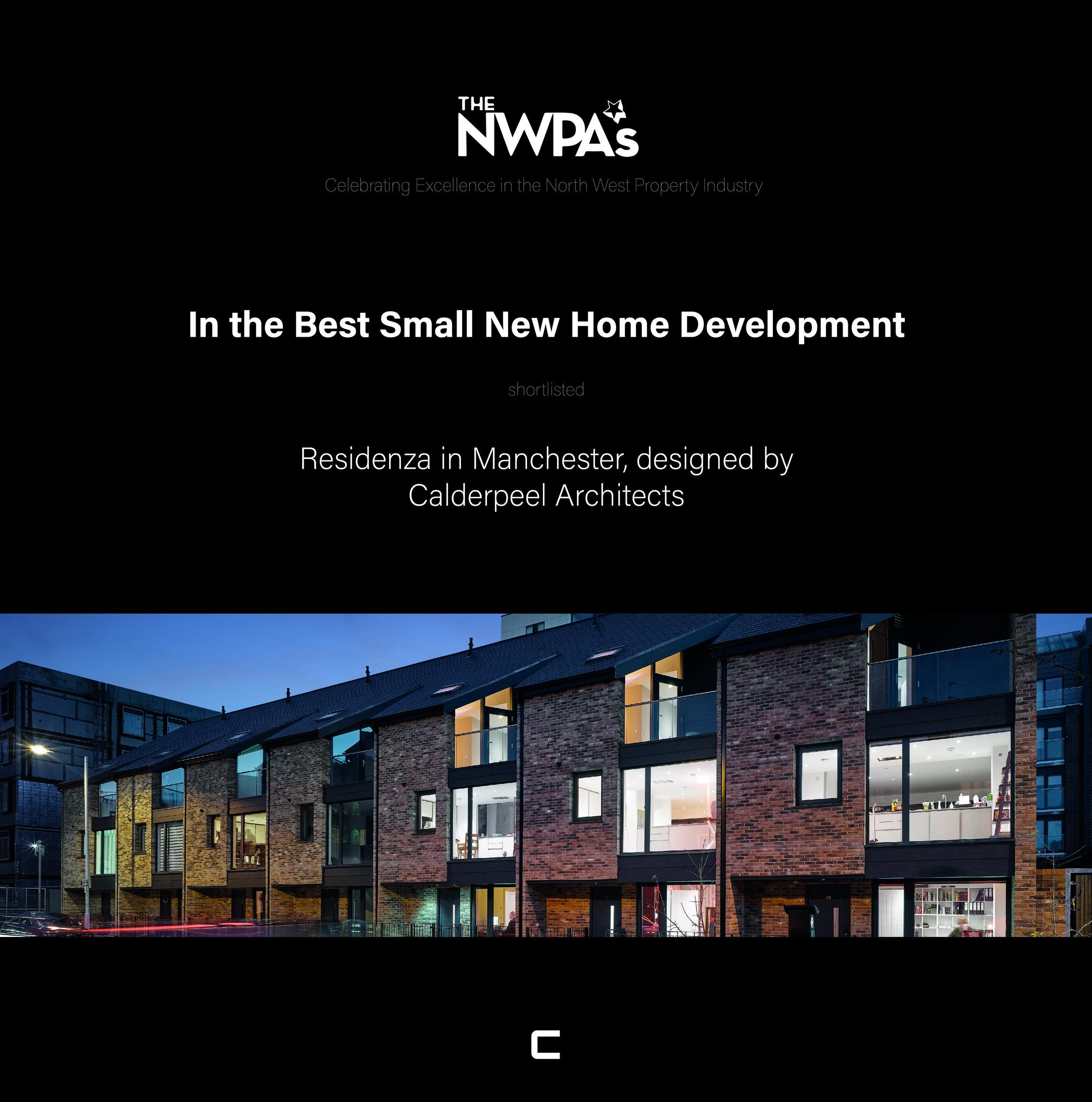 20/09/2018   Residenza has been shortlisted in the Best Small New Home Development category at this years NWPA's !