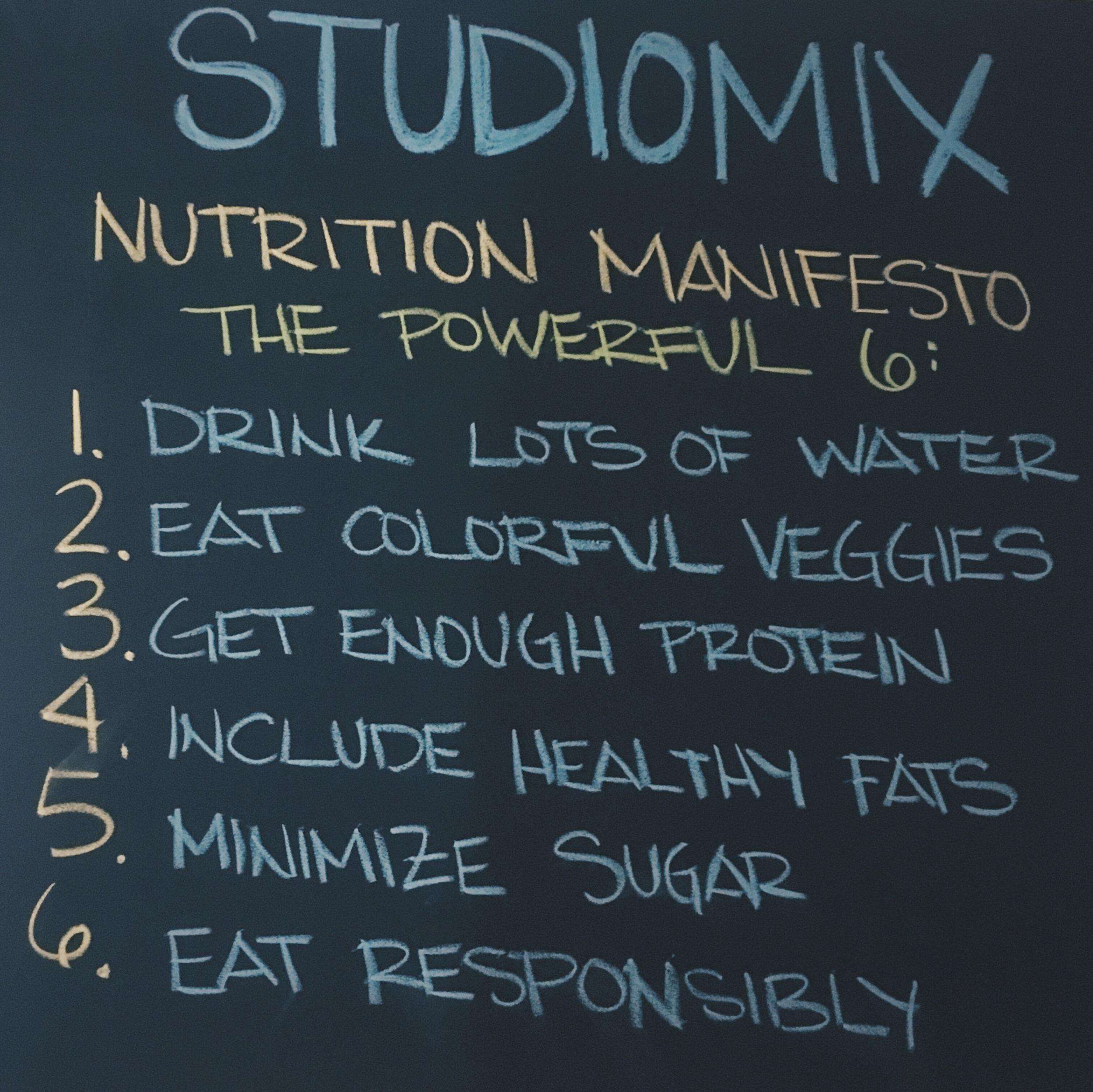 The Studiomix Nutrition Manifesto