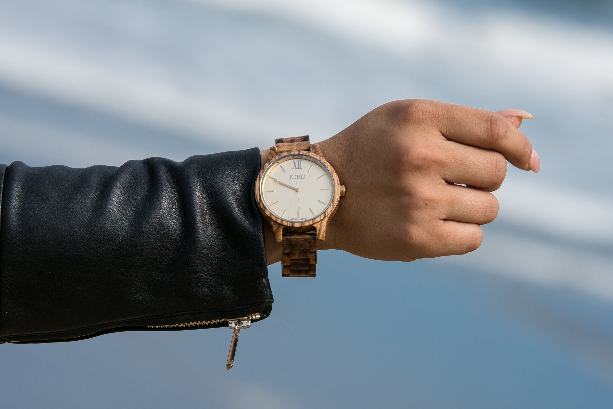 JORD Watches Zebrawood wooden watches champagne