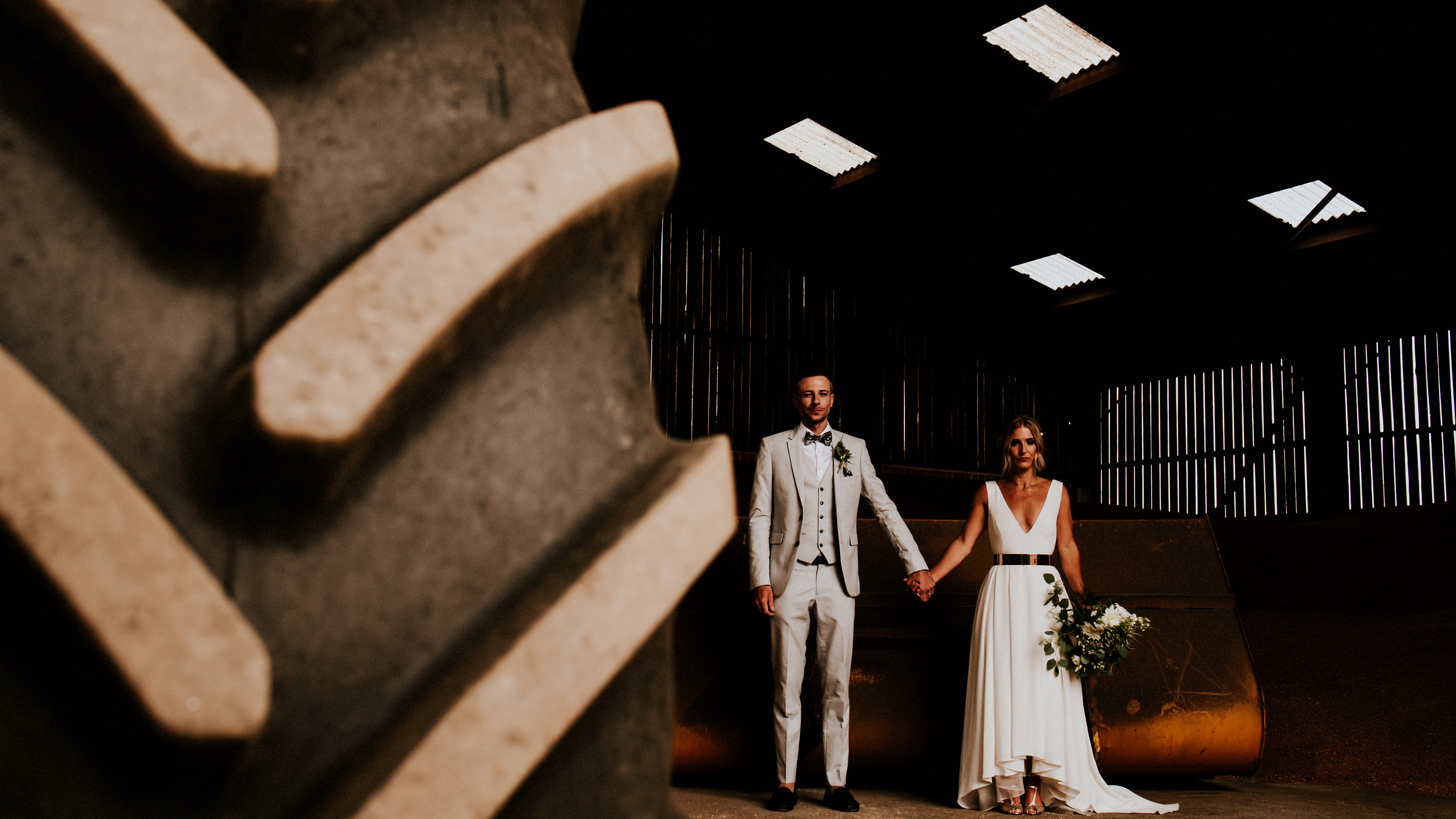 The ultimate York Barn wedding, Fairylight curtains, White VW camper vans, An etherial Dress from Ghose Orchid Bride, Farm machinery frames the love struck in this York wedding at the Normans