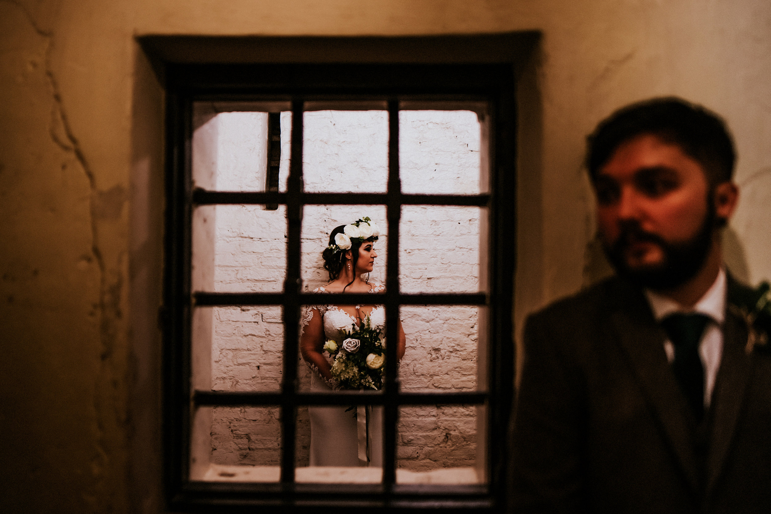 Prison Cell portraits, Christmas collides with colourful romance in this York Castle Museum creative wedding for Josh & Emily