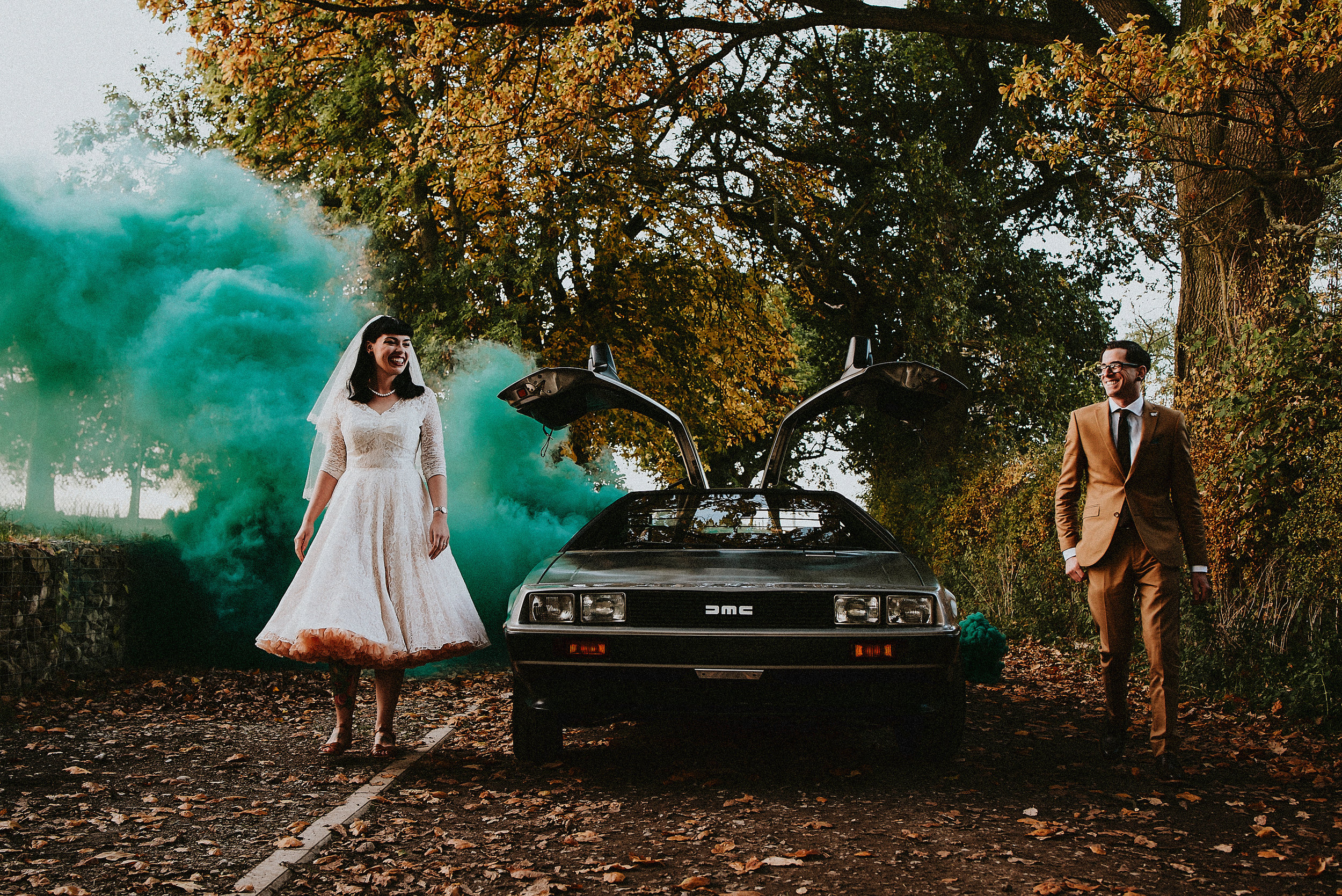 With Autumnal Colours, a Delorean Owned By the Groom & a Party to End All Parties. This Thorner Victory Hall Wedding Brings Charlotte & John right back to the Future. Featured on Rock N' Roll Bride.