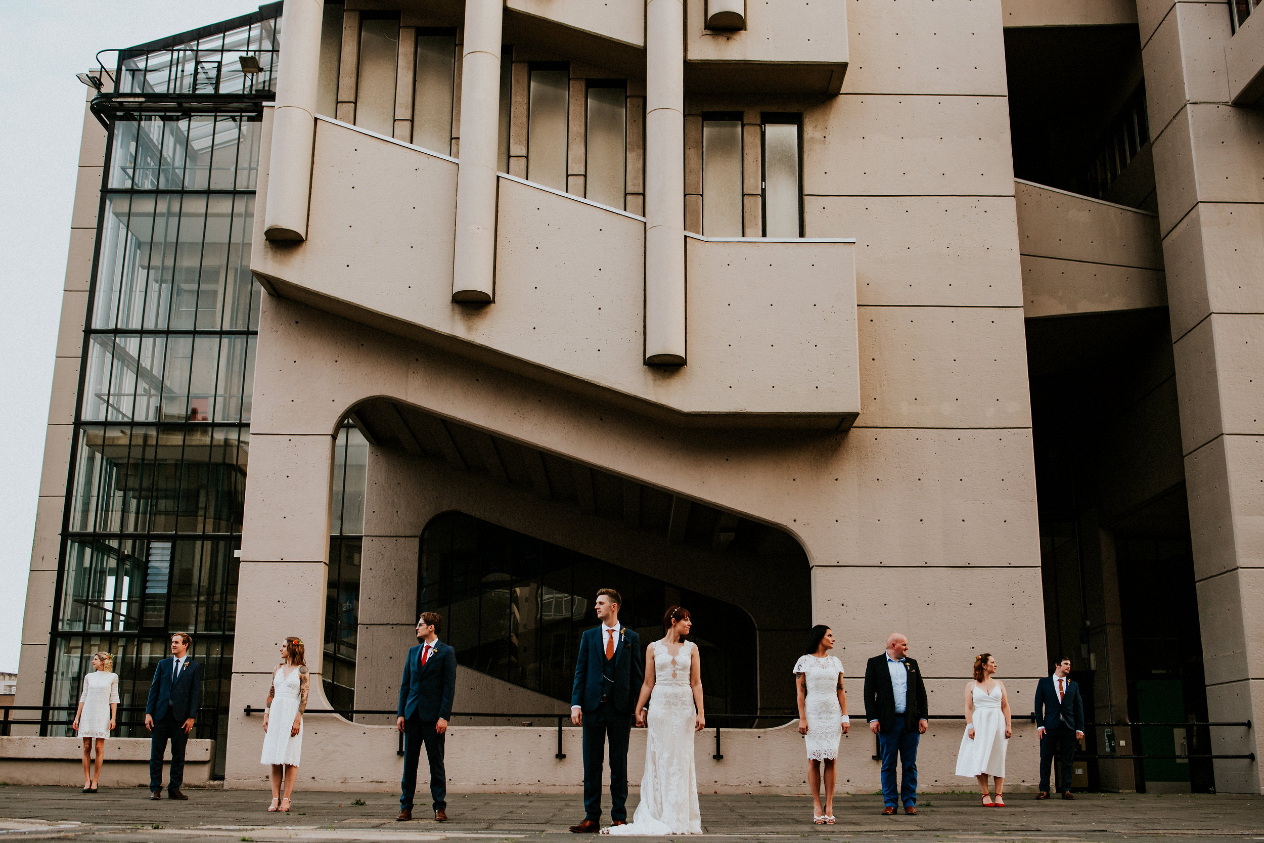 Industrial brutalist city portraits, Magic made amidst the Roger Stevens building, Concrete meets heart in this 1960's inspired Faversham Leeds wedding