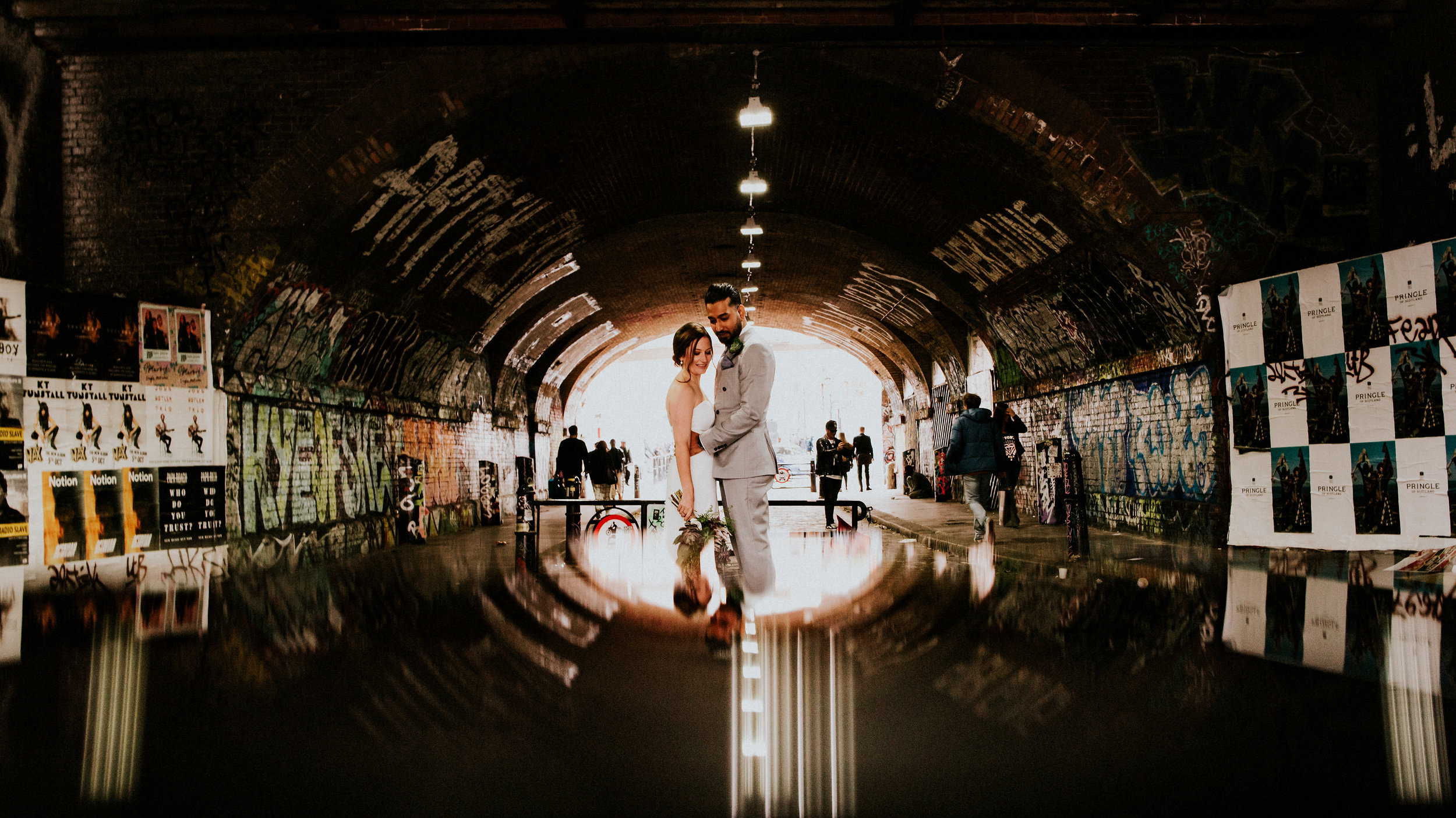 From the chandelier lit beauty of Marylebone Town Hall to the colourful graffiti'd streets of Shoreditch. This London alternative wedding is all about creativity, memories &  the love struck.