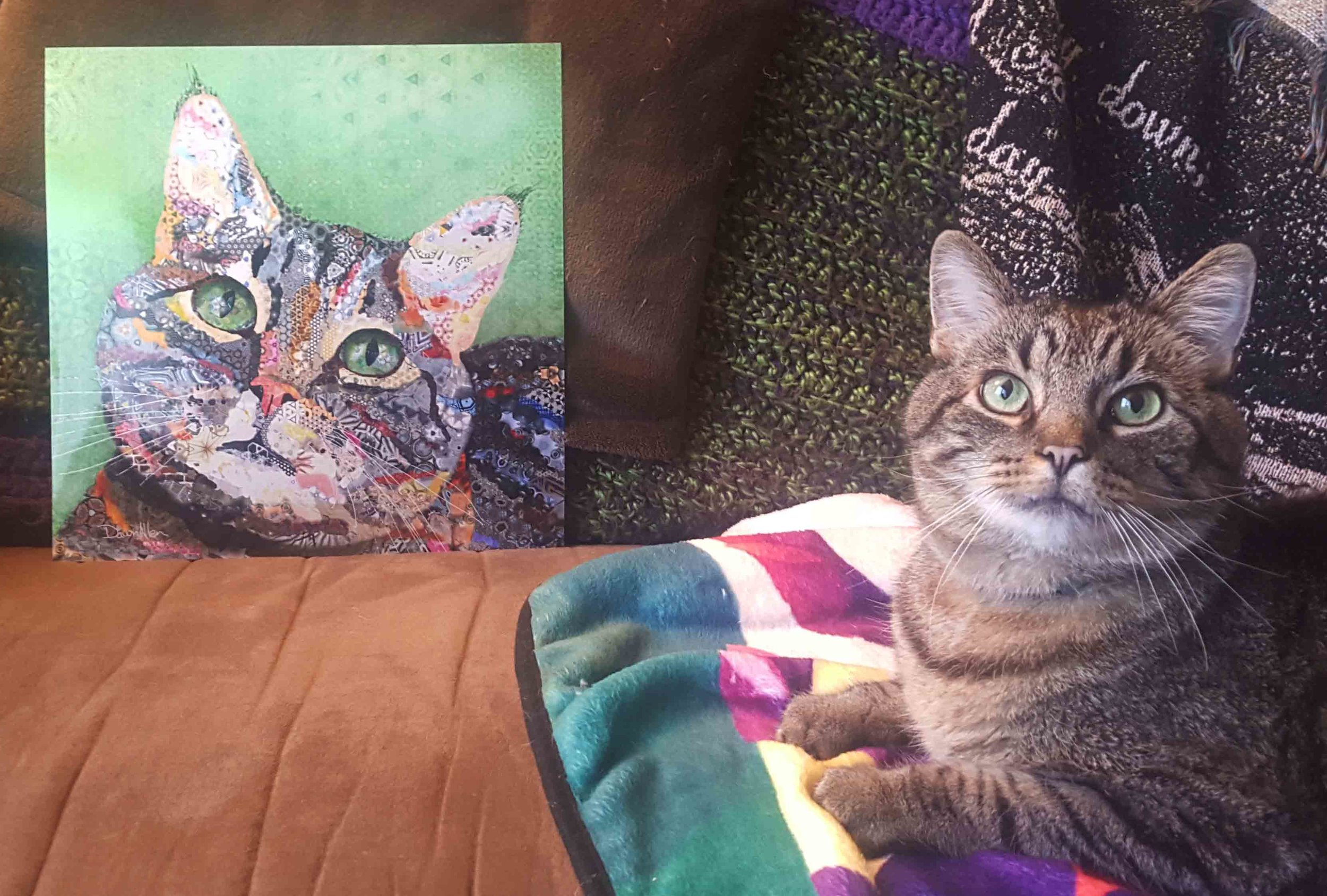 """How could I ever repay you!!! This is so beautiful and brought me to tears as I opened it today.  This seemed like a perfect commemoration and symbolism of what we have been through as a family [Gato's health troubles] and seeing what can be infuriating daily scenarios as a piece of a larger picture - a happier healthier kitty! I think he approves!"" Michelle, Ohio -"