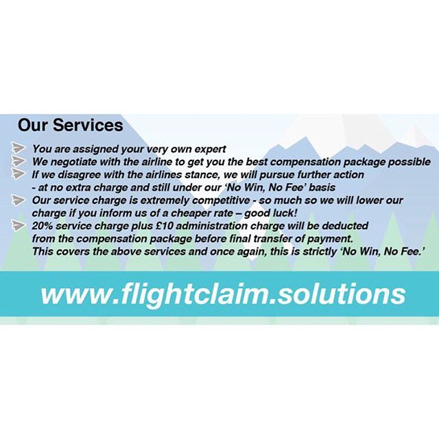 Our services. Visit our website for further details or contact our team of experts via email - enquiry@flightclaimsolutions.co.uk... #delayed #nowinnofee #compensation #delayedflight #cancelledflight #missedconnections