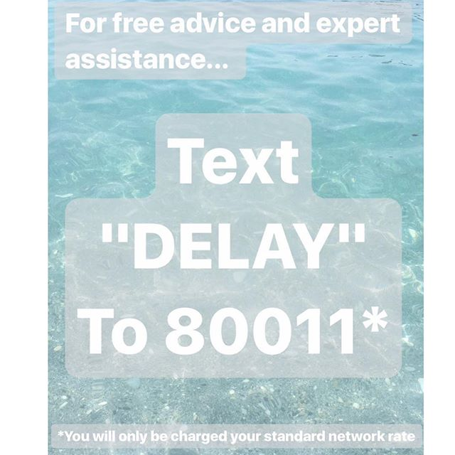 "Start the process today by texting ""DELAY"" to 80011. You will then be contacted within 24 hours by a member of our claims team, who will be able to assist further. Remember... each passenger effected by a delayed or cancelled flight, may be entitled up to €600 (£540) in compensation #nowinnofee #compensation #cancelledflight #delayedflight #delayedagain #missedconnectingflight"