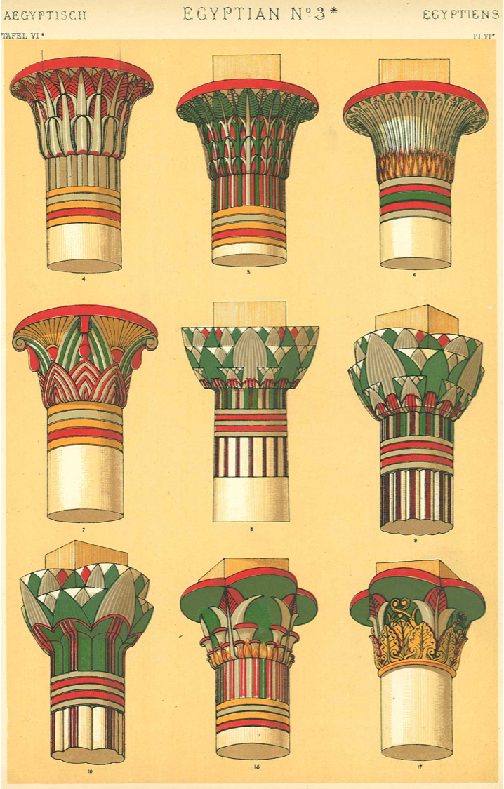 These plates are derived from various recensions of 19th century studies, such as the  Denkmaeler aus Aegypten und Aethiopien  by Karl Richard Lepsius and  The Grammar of Ornament  by Owen Jones. They allow us a glimpse into the multiplicity of Egyptian capital types, even when restricted only to the plantiform.