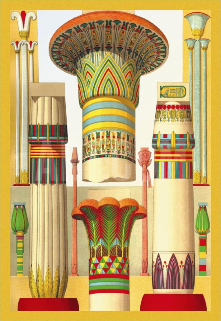With this image from Auguste Racinet's L'Ornement Polychrom, we see the stylized Papyrus on the right and Lotus on the left framing a few of their classic respective foreground monumental manifestations.  The Palm capital below stands out as not belonging to this family.  Yet it cannot be ignored as starting in the early Old Kingdom it was the dominant column type at various periods .