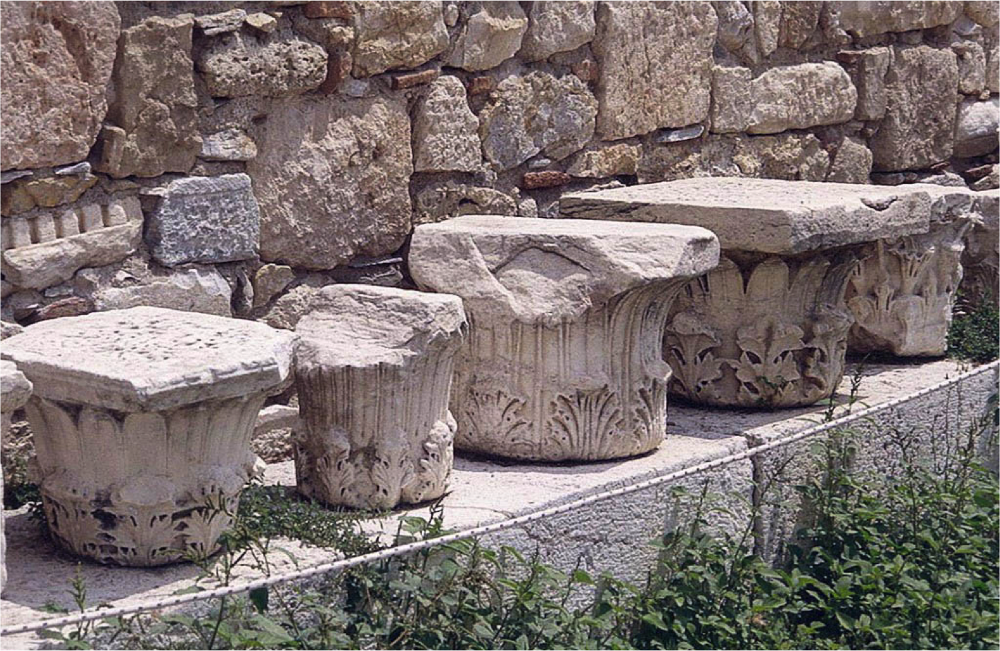 However, as this photograph attests, in Athens there survive many versions of this capital type.  This set is found right next to our tower, and within the archeological zone of the Roman Agora.   In the scholarly literature our capital is usually referred to as belonging to the Pergamene Type.  So many manifestations of this capital were found in the site of the ancient city of Pergamon by the German archaeologists who first excavated there, that they concluded this type was first created in this major Hellenistic City.