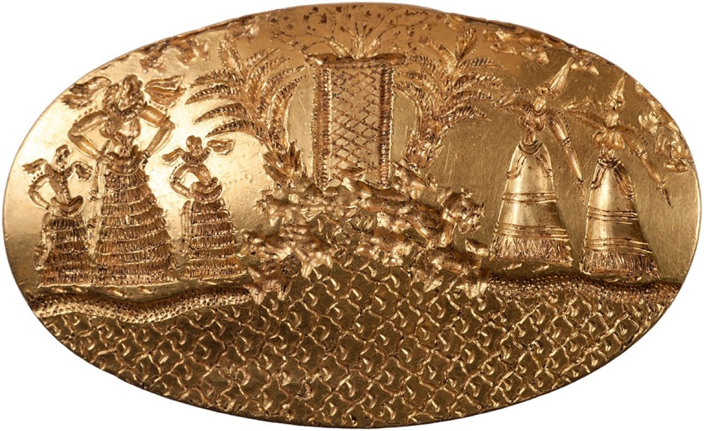 This gold signet ring, one of four recently discovered in Greece, near Nestor's Pylos, in a miraculously undisturbed tomb as a part of a burial of a wealthy Bronze Age Warrior, returns us to the world of the Minoans.   Minoan Crete, situated just across the sea from Egypt, traded with this most venerable Ancient Nile Civilization for the many centuries of the existence of the Minoan Sea Empire, from its infancy through to its fiery end.  While a culture long traveling its own distinct trajectory, the Minoans, and their immediate heirs, the Mycenaeans, could not but help to be drawn into the Egyptian cultural orbit, especially since the Egyptians had long attained their classic form while Crete was still emerging out of its Neolithic beginnings.   Thus, the challenging task of unraveling the mystery of the Minoans, given the lack of a surviving literature, necessarily includes a looking south to Ancient Egypt.   On this gold signet ring we see five elaborately dressed female figures, the three on the left apparently dancing, while the two on the right raise their right hands in a gesture of worship.  Both groups stand on the seashore, facing a mountainous landscape atop of which stands a shrine framed by Palm Trees, out of which grows some sort of bush.  Each element of this striking scene finds many parallels in surviving Minoan iconography.   The two emphatically present Palm Trees are striking in their computational preeminence, and in their naturalism.