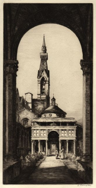Pazzi Chapel, Florence, 1920: by Sidney Tushingham (Syracuse University Art Collection)