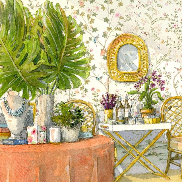 A detail of Jason's watercolor illustration for Aerin Lauder's Palm Beach Store @ja.grimes @aerin . . . . #watercolor #paintbyjag #art #palmbeach #florida  #painting #illustration #instaart #aerin #store