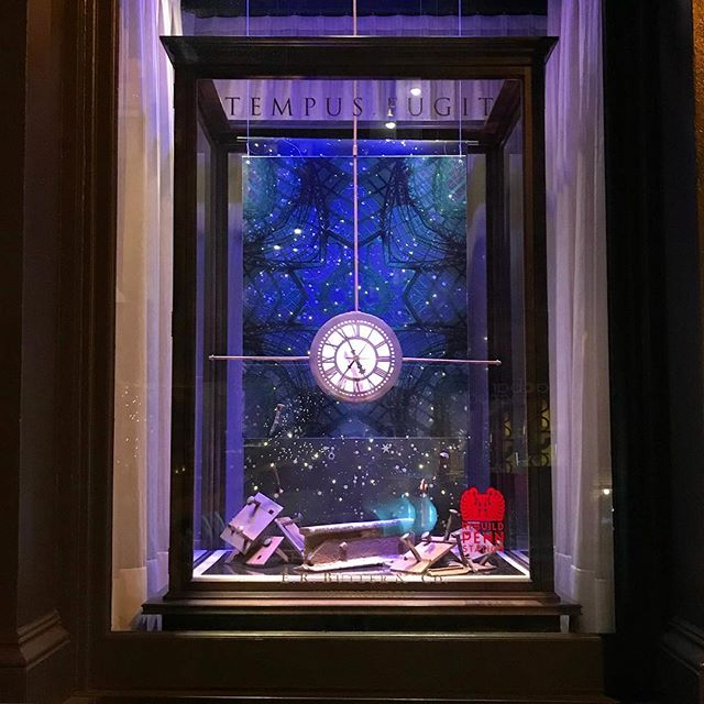 Twinkle light are on! Window #1 Tempus Fugit, aka pre demolition #rebuildpennstation #atelierandco