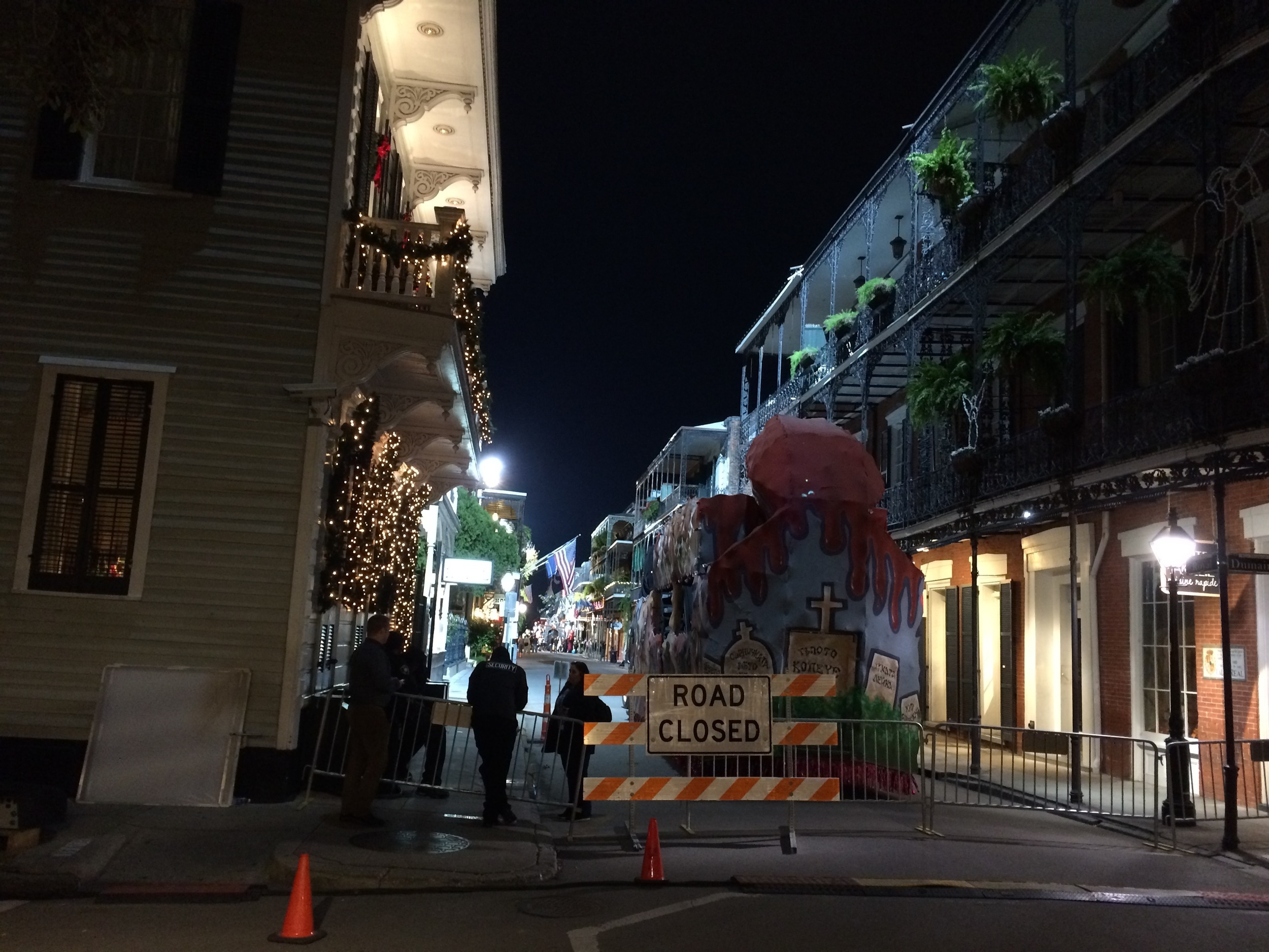 The evening after the first video shoot, we roamed the French Quarter and found a larger-scale (Hollywood) production in progress.