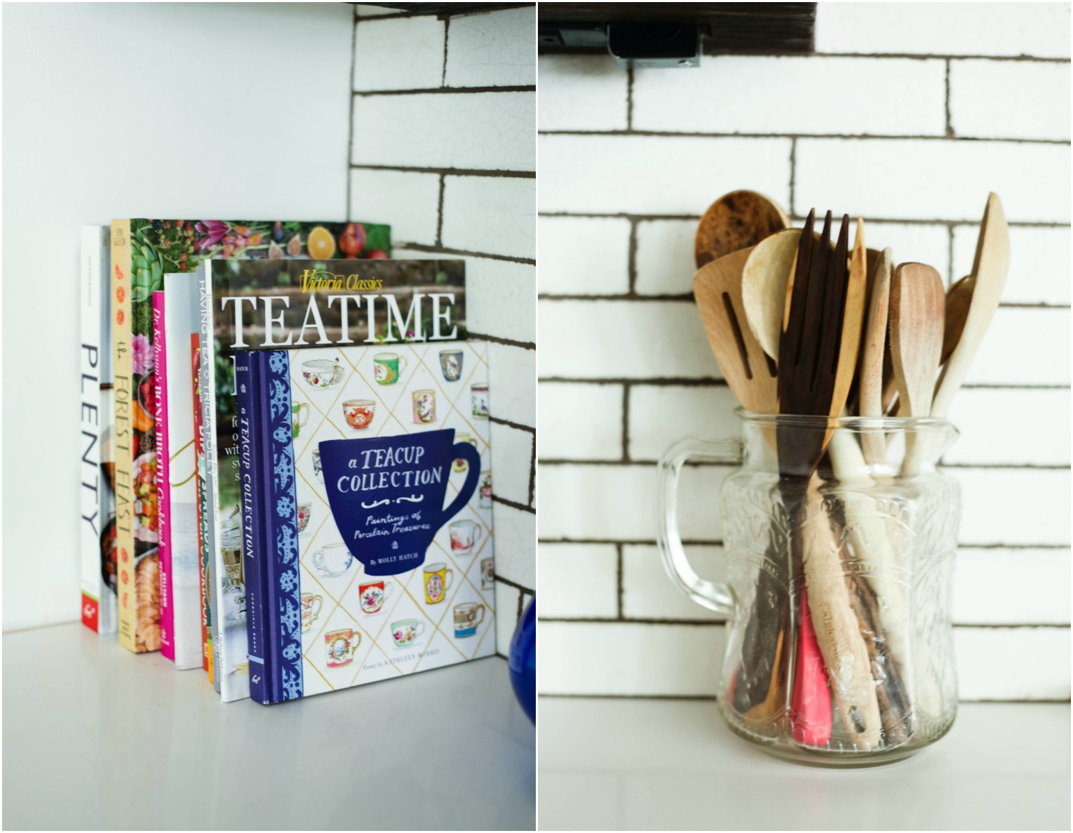 Style tip: Display your favorite cook books and wooden utensils in a clear pitcher.