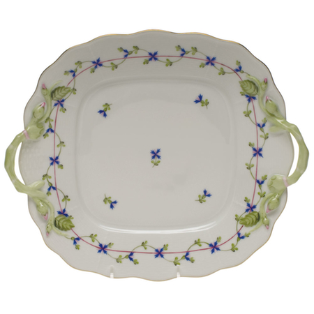 Blue Garland Square Cake Plate