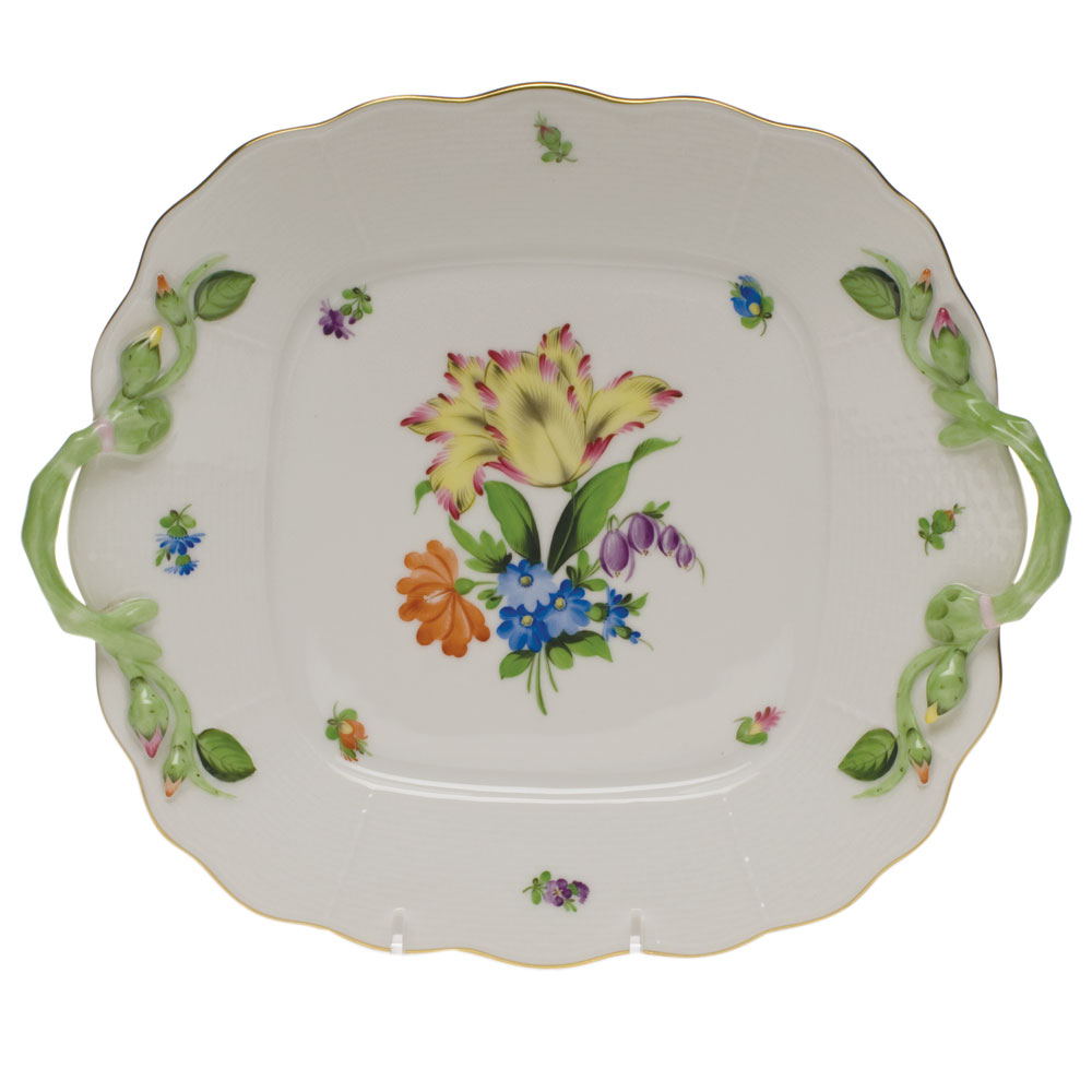 Printemps Square Cake Plate with Handles