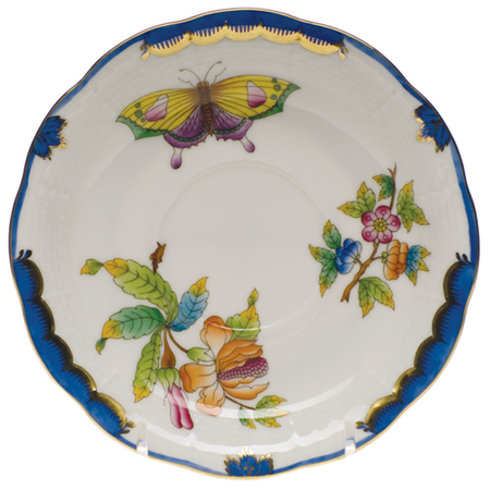 Queen Victoria Blue Tea Saucer