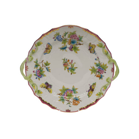 Queen Victoria Pink Chop Plate With Handles