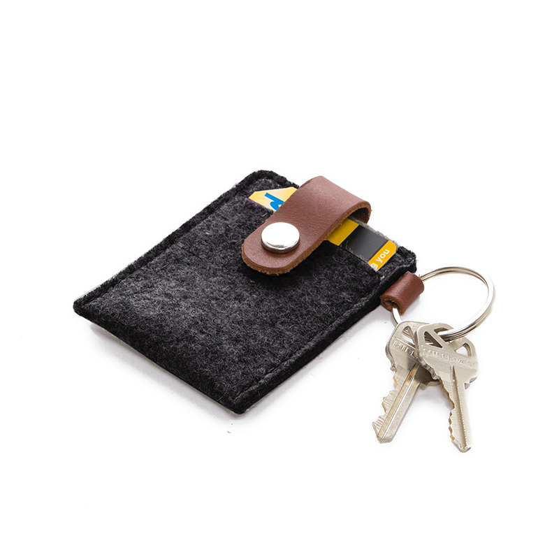 Key Card Case Felt Charcoal