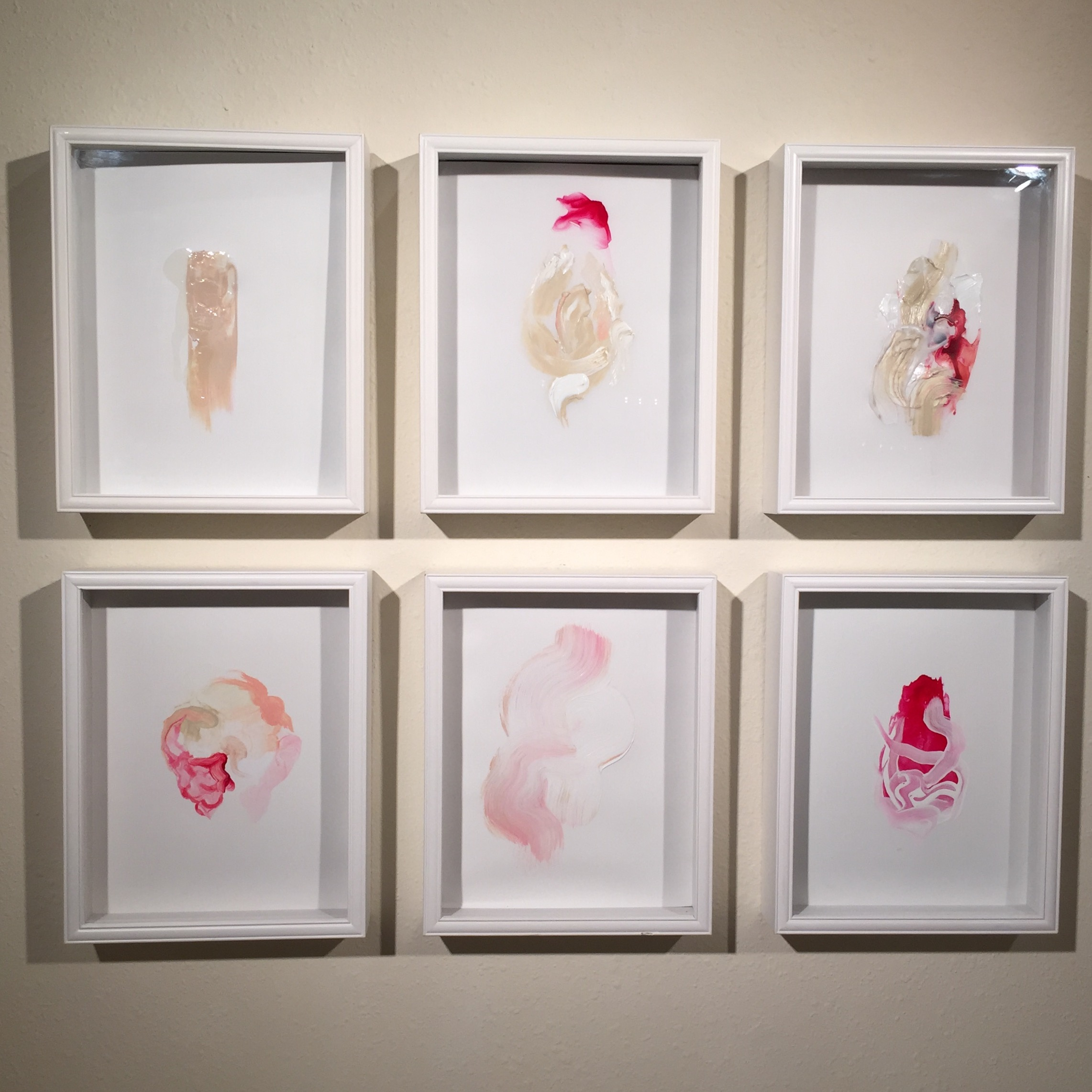 Blood and White  Series, 2014. From left to right, top to bottom:  White Window, Sacred Egg, Heart, Brain, Panic Cloud, White Specter.  BLUEOrange Gallery, Houston.
