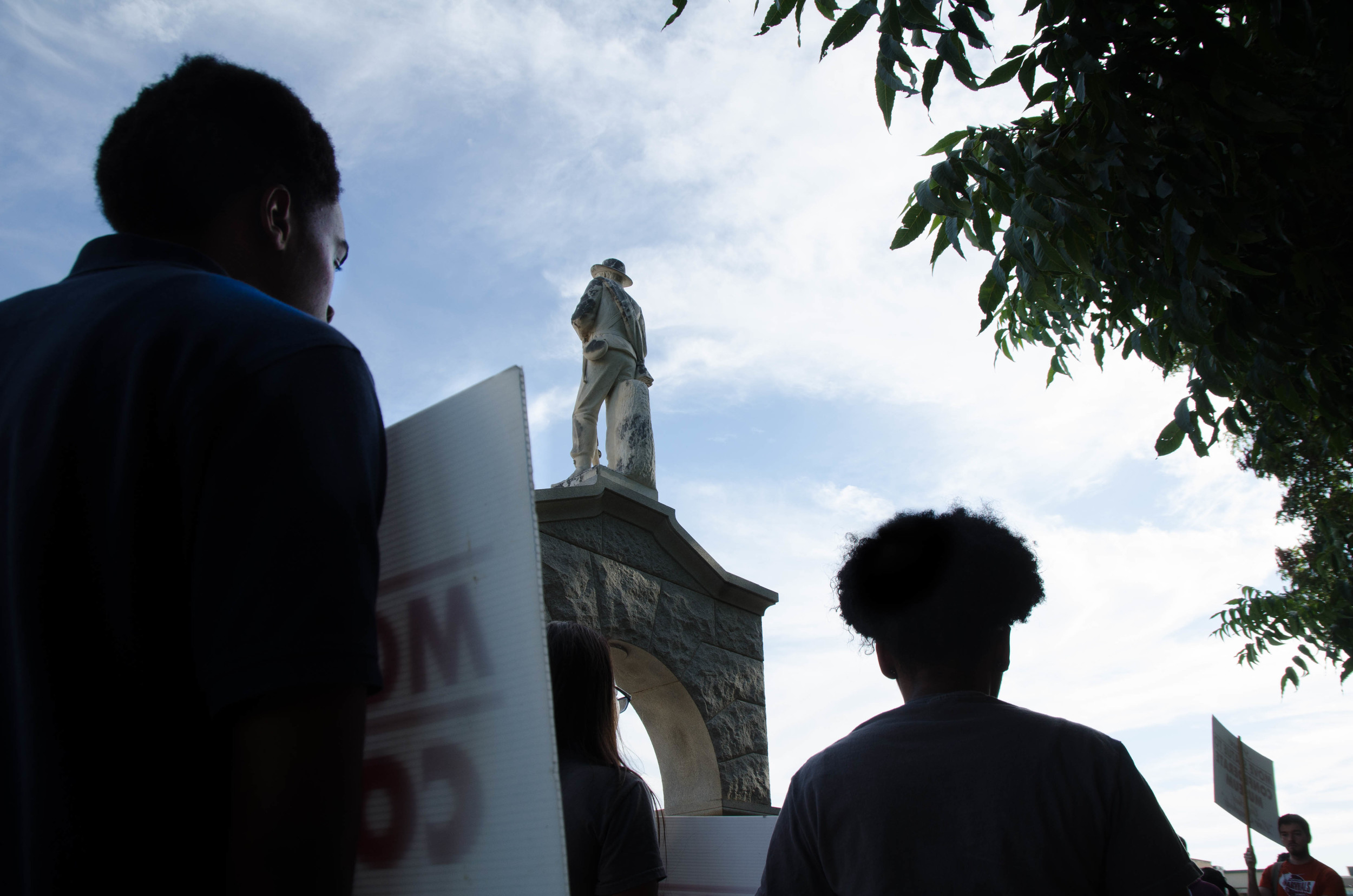 UNT students protest the confederate solider statue which sits outside that courthouse on the square in Denton, Texas.