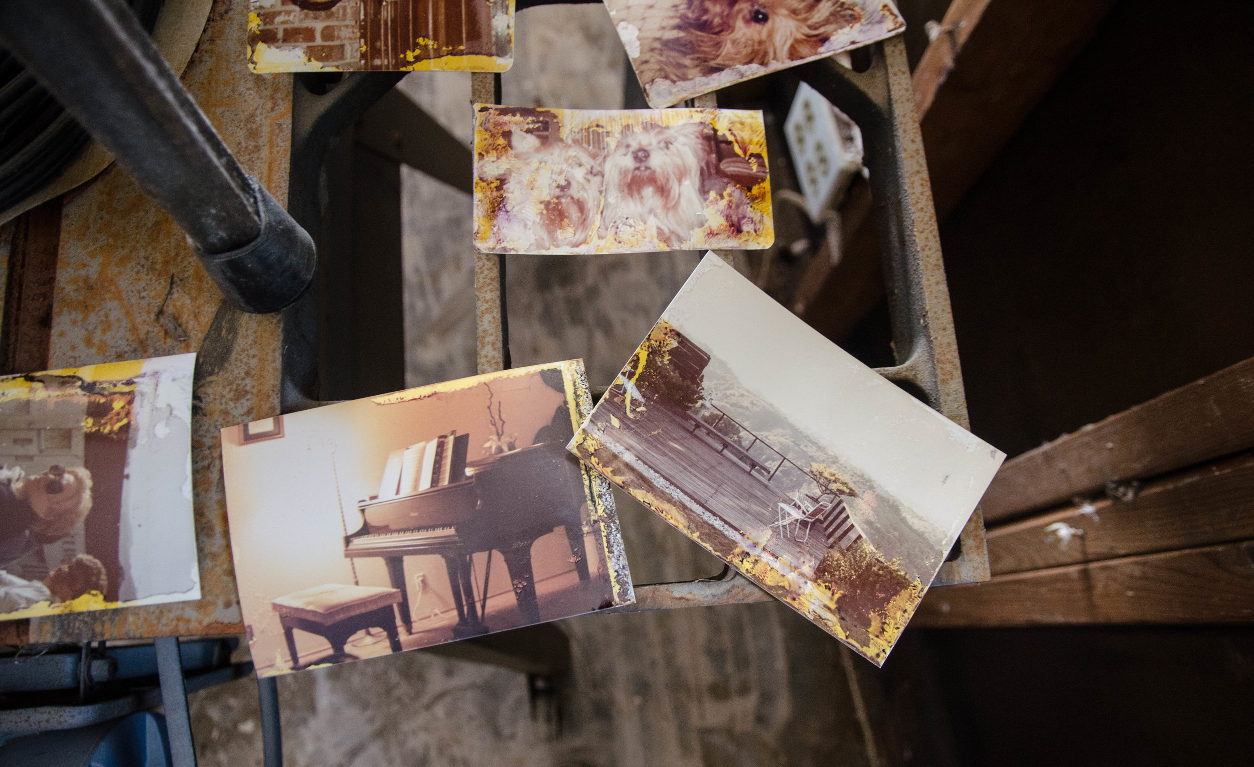 Flood damaged family photographs are spread out to dry around the house.