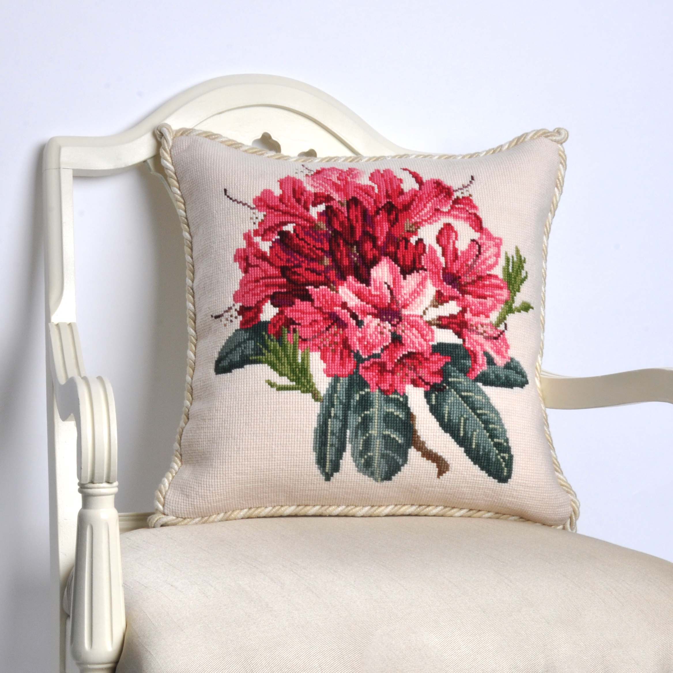 Queensgate Rhododendron needlepoint tapestry pillow                                    - hand-stitched, museum quality accessories for unique interiors -