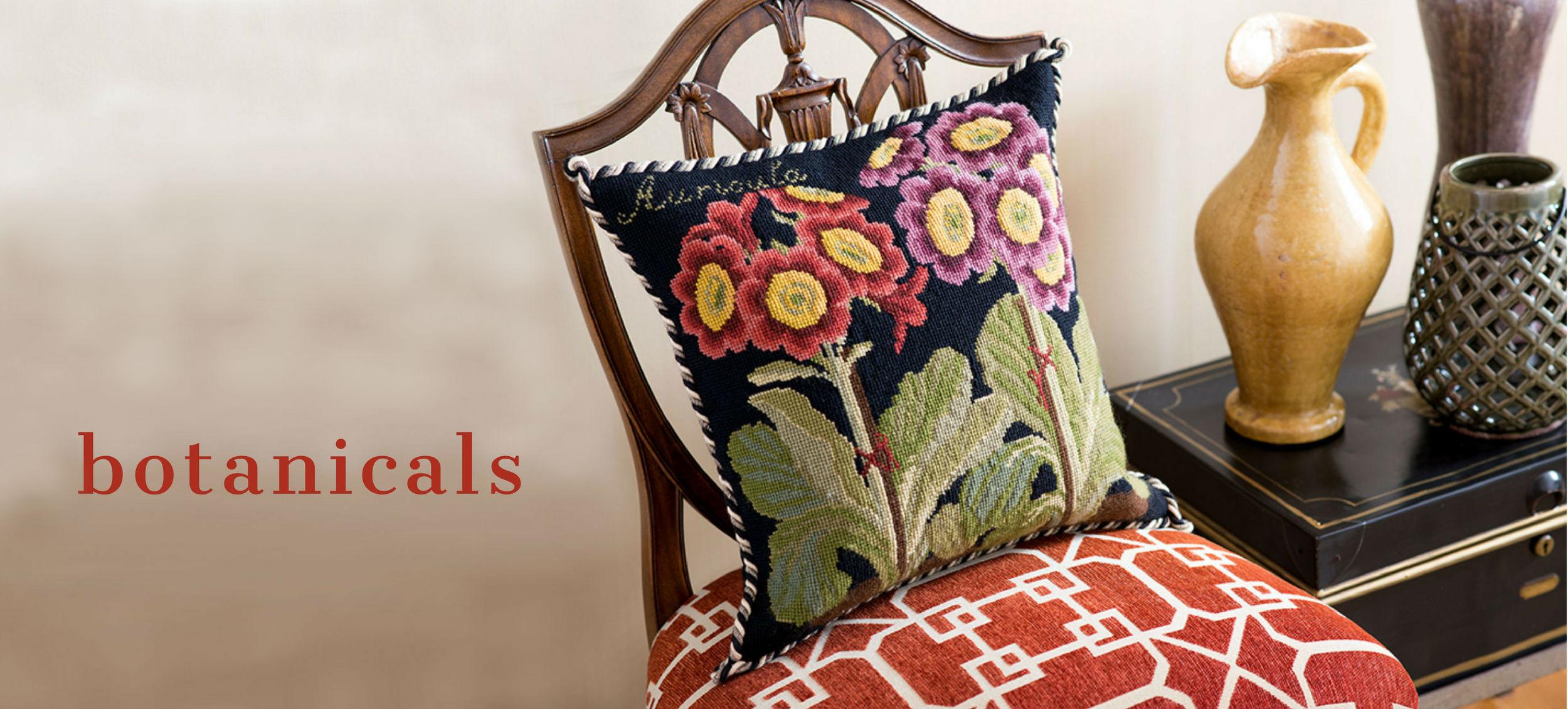Botanical Auricula on Black Needlepoint Pillow