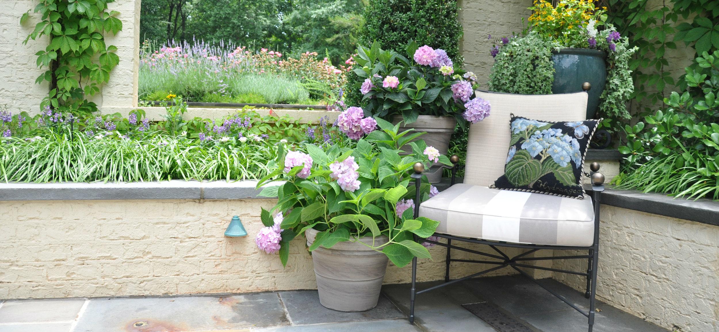 Botanical Hydrangea Needlepoint Pillow