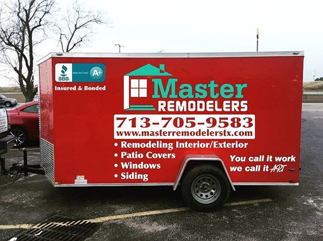 Trailer graphics for Master Remodelers. #wrap #graphics #leaguecity #webster #trailer #remodeling