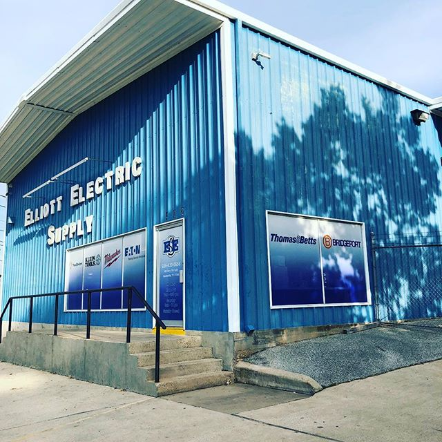 Storefront graphics for Elliot Electric Supply in Huntsville TX. #windowgraphics #wideformatprinting #graphicdesign #leaguecity #signs