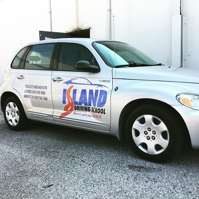 Graphics for Island Driving School #drivingschool #graphics #carwrap #signs #leaguecity