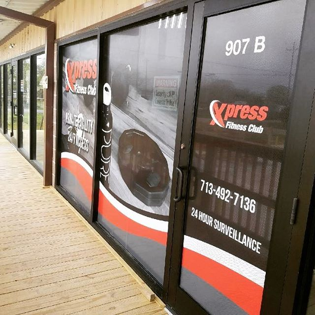 Store front graphics for Xpress Fitness Club in San Leon TX #inkanddesign #leaguecity #graphics #printshop #signs