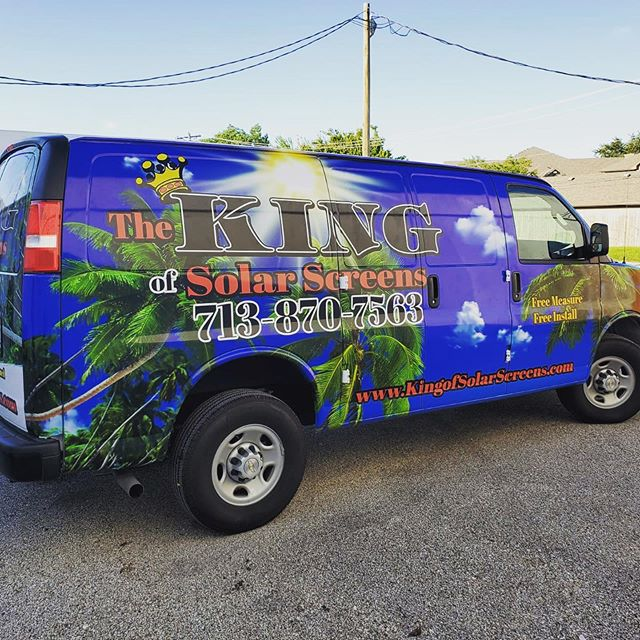 Full vehicle wrap for The King of Solarscreens #carwraps #signs #leaguecity #inkanddesign #printshop #printing #design #htx