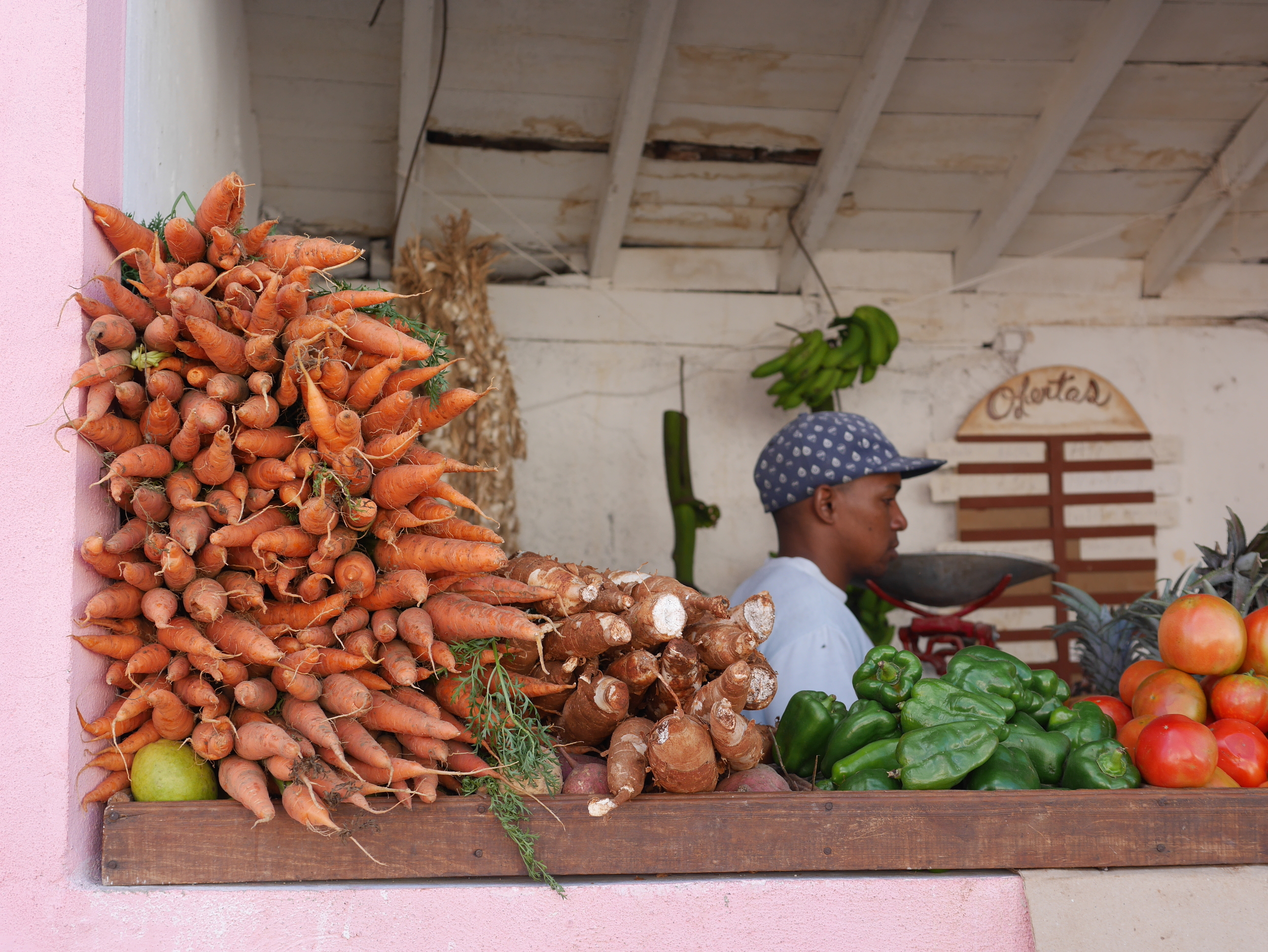 Vegetables, fruit and meat are purchased at neighborhood stands scattered throughout the town.