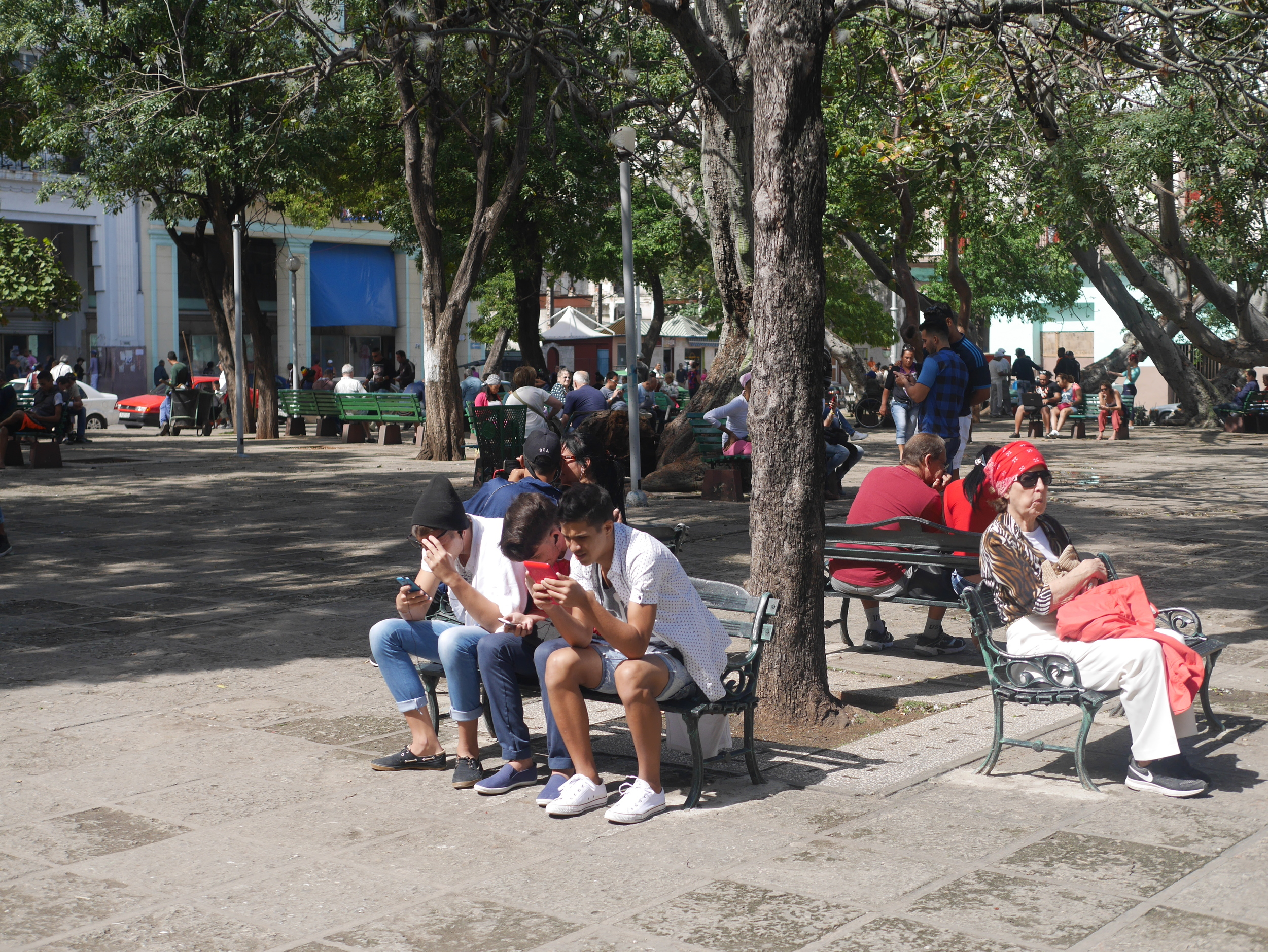 The only wi-fi available in Cuba is at a central park in town. You'll know you've arrived when you see everybody on their phones. One hour of internet costs $2 and at least an hour wait in a line... or $3 illegally from a dude on the street.