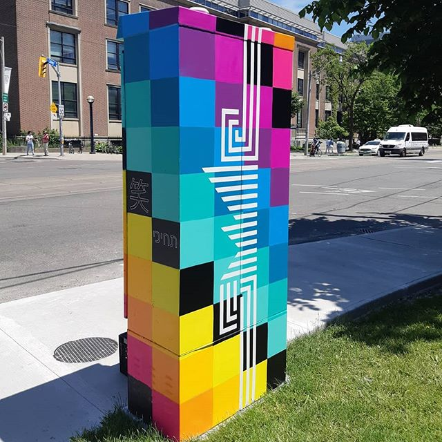 It's hard to believe that 7 years have flown by since I painted my first mural in Toronto on a utility box. That first experience changed the direction of my life and helped me realize that adding colourful creations to the streets makes me feel connected and alive.  This annual tradition has become a fun exercise in reflecting on my journey and a helpful reminder that every year I'm learning how to be more inclusive with my message and improving my craft.  Big love @start_streetartoronto for being a huge supporter of my work and helping me grow my practice 💖🧡💛💚💙💜 #outsidethebox2019  #rainbowisthenewblack