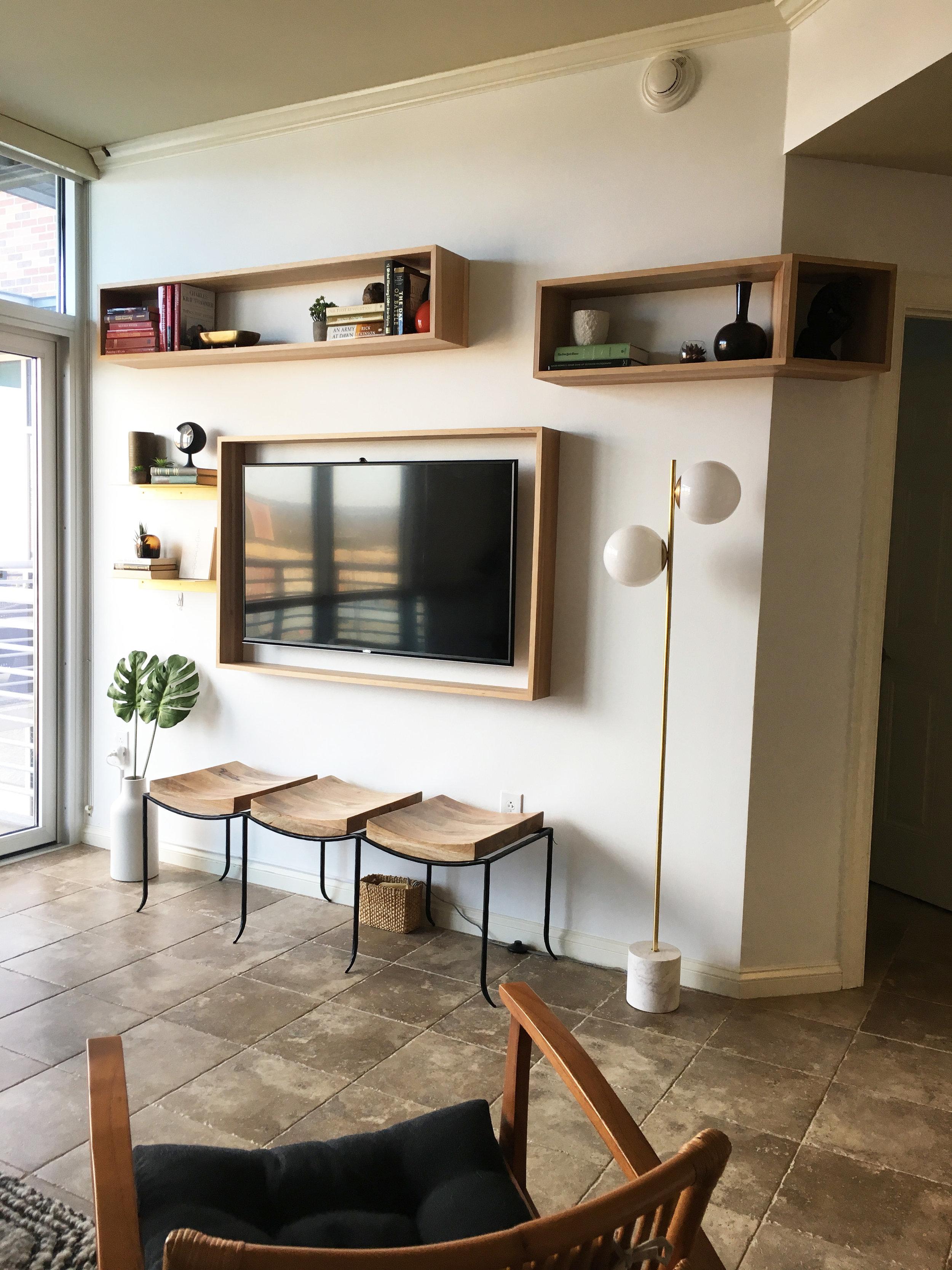 Custom built floating shelves