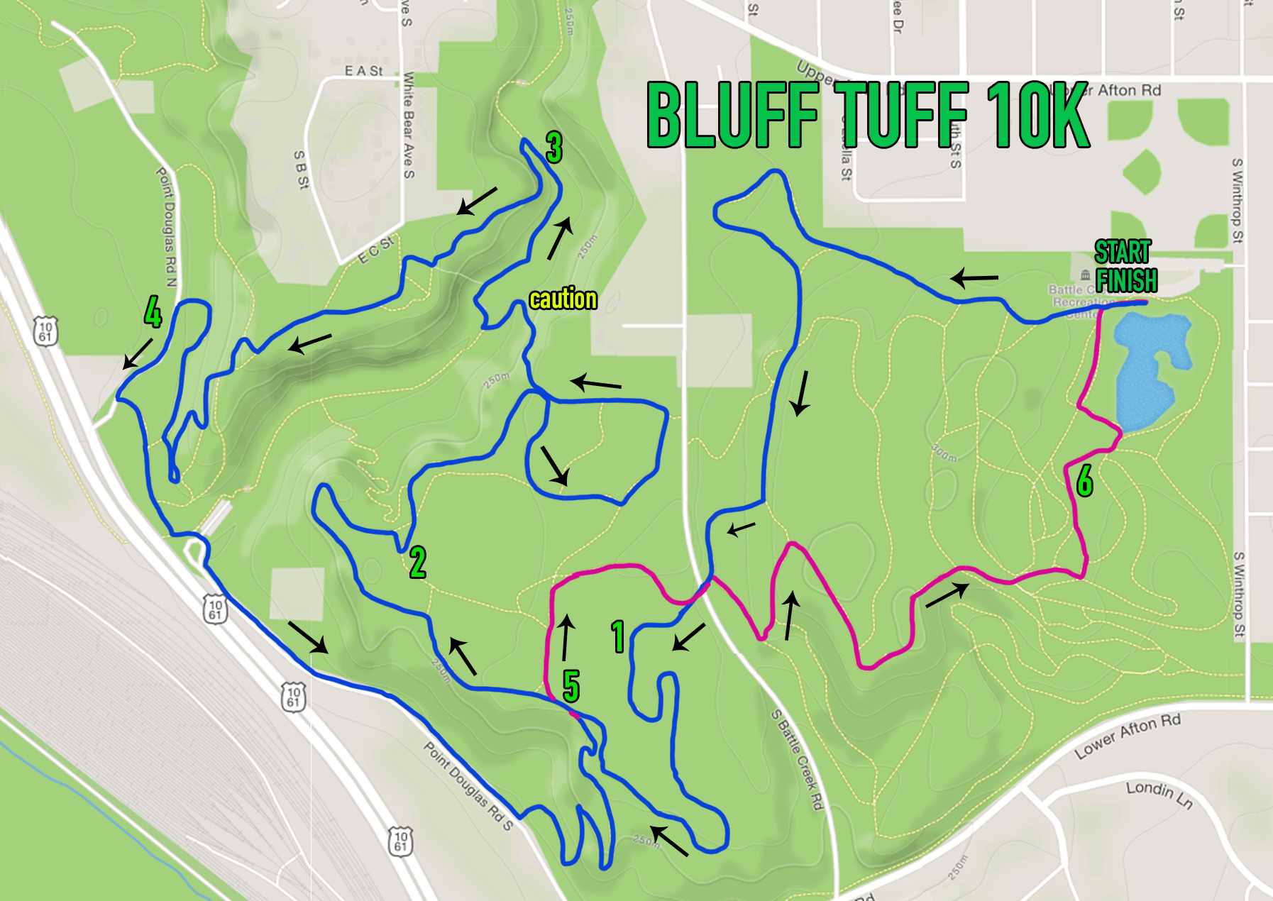 "The Bluff Tuff 10k course. The ""out"" route to the far point on course is shown in Blue. The ""return"" route is shown in Purple."