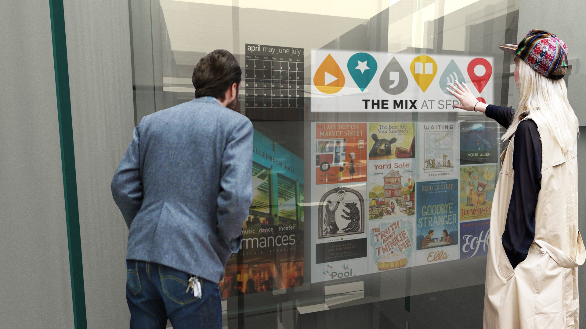 As you ride up the elevator to the Reading Room, other titles pop up that you can request. Current events in the library or more information about vendors appears too.
