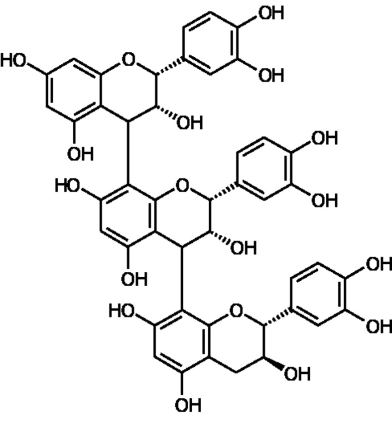 Figure 1  Structural representation of a procyanidin molecule consisting of catechin and epicatechin subunits which are the main constituents of Pycnogenol (PYC). The catechin and epicatechin units can be linked by different bonds, the main being C4-C8 bonds and C4-C6 bonds as well as C4-C8 bonds with different chain lengths up to dodecamers.