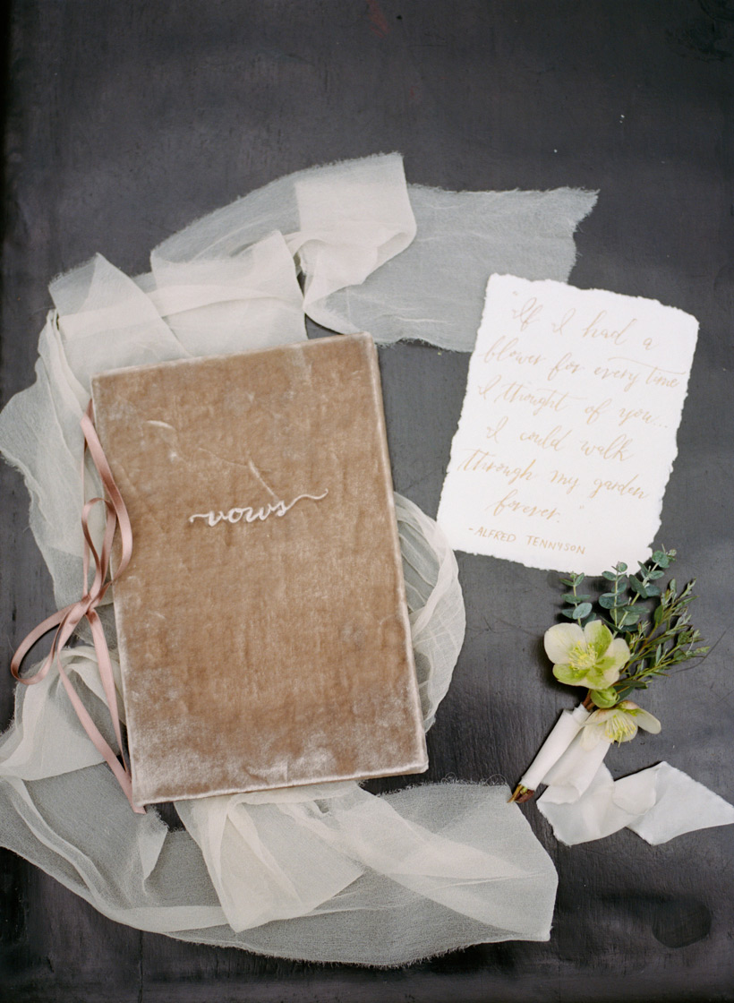Wedding Vow Book from Blue Sky Papers and Gold Calligraphy by Julia Rohde Designs - photo by Kat Braman