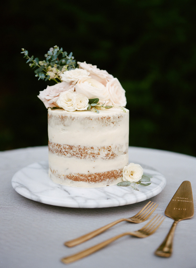 Semi-Naked Carrot Cake baked by the groom, Florals by Kasey D Weddings, Cake Server from Taudrey - photo by Kat Braman